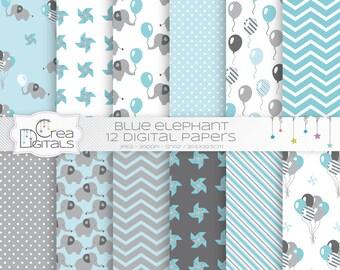 Elephant - 12 blue digital papers - INSTANT DOWNLOAD