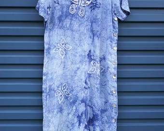 Vintage 80's 90's linen tie dyed blue butterfly dress, loose fit, t shirt dress, shell button detail, festival, tunic, cute, blue cactus