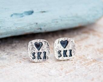 Love to Ski Earrings, Gift for skier, ski earrings, slope style, skiing Earrings, ski gift, skiers Earrings, Silver Stud Earrings, apres ski