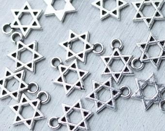 10 star of david charms, hexagram charms, Islam charms, hebrew charms, Shield of David charms, silver charms, metal charms,