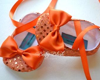 Orange Sequin Baby Shoes Baby Ballerina Slipper