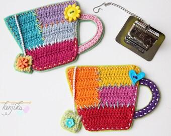 Teacup Crochet Patchwork,Crochet Pattern,DIY,Crochet Applique,Crochet Patchwork,Teacup Pattern,Teacup Applique,Crochet Coaster,Applique