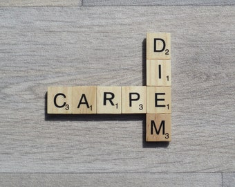 Scrabble Magnet | Fridge Magnet | 'Carpe Diem' | Seize the Day | Wedding Favour | Birthday Present | Small Gift | Thank You | Motto