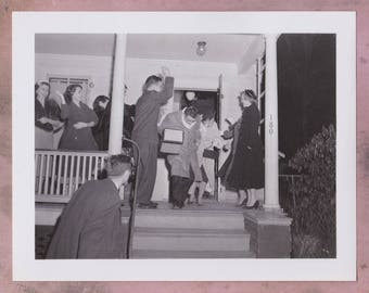 Vintage Photo, 1950s, Newly Weds, Throwing Rice, Wedding, Vernacular,Fashion, Kodak Velox Paper, Laughing, Women, Reception, Party, Candid