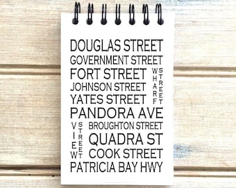 Victoria B.C. - Love This Place - Street Name Notebook - Notepad Journal Custom Gift - Canada Busroll