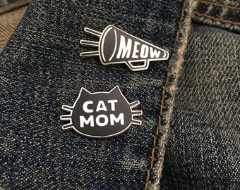 Cat Mom and Team Meow combo pin deal Hard Enamel Pin Black and Nickel