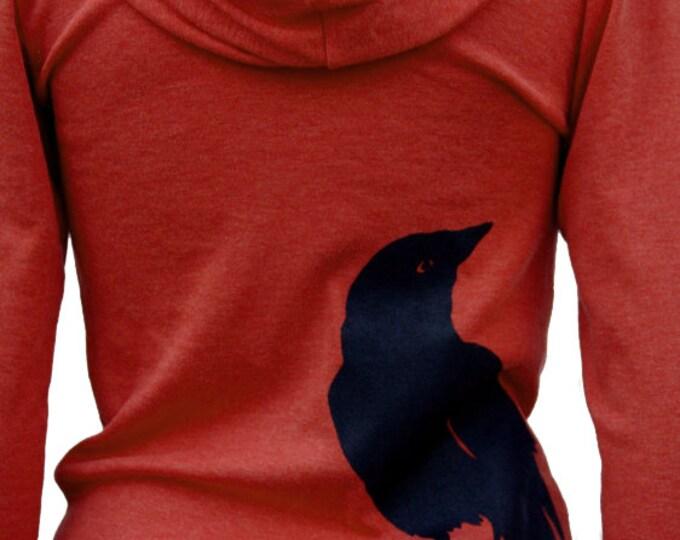 Featured listing image: Crow bird - Full zip Soft Lightweight hoodie - Raven