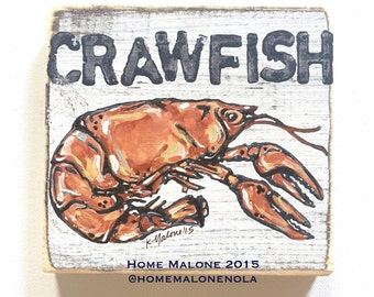 Crawfish: Wood Sign, New Orleans Art, Kitchen Art, Collectible Art, Crawfish Boil, Crawfish Art, Southern Art, NOLA, Seafood Art
