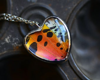 Real Sunset Moth Wing Necklace Butterfly Valentines Day Gift for her Heart Shaped Pendant Rainbow Quartz necklace Valentine heart necklace