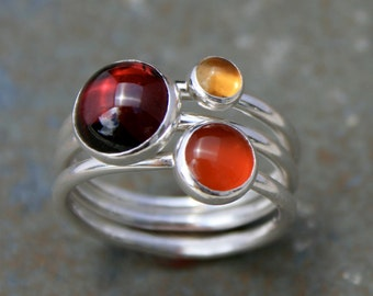 Maui Sunset Stacking Rings, Sterling Silver, Garnet Citrine Carnelian, Stackable Stack Ring Band, Cabochon Gemstone Jewel Wine Marsala Ring
