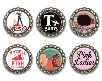 GREASE Bottle Cap Magnets or necklace/keychain