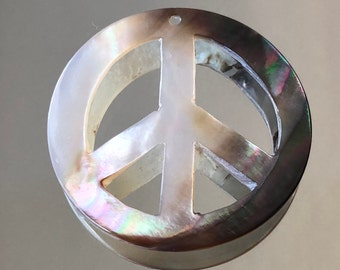 Peace Sign Pendant - 35mm Black Lip Shell Peace Sign Pendant - Black and White - Top Drilled, 2-Sided, Hand-Cut - Sold Individually (#337)