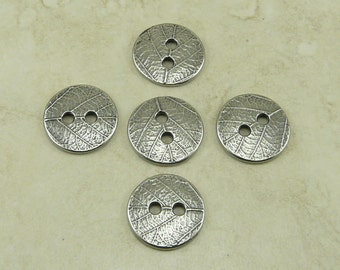 5 TierraCast Round Leaf Texture Buttons - Plant Leaves Bamboo Natural - Antiqued Silver Finish LEAD FREE Pewter I ship Internationally 6559