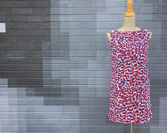 Vintage 1960s Red White And Blue Mod Leaf Print Mini (Size Small)