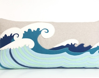 Ocean Waves Lumbar Pillow in Blue felt and Oatmeal LInen