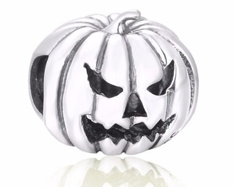 Genuine 925 Sterling Silver Pumpkin Jack O Lantern Charm, Steampunk, Gothic, Unique, Creepy, fit Charm Bracelet Jewelry For Women Gift