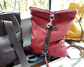 Rucksack, red leather backpack, original design, made by Marion Haima. Adjustable straps saddlebackleather, two sizes in one! 16x13x4 inch