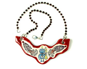 Robot and Rockets Sparkle Surly Ceramic Necklace with Red Rhinestone Chain