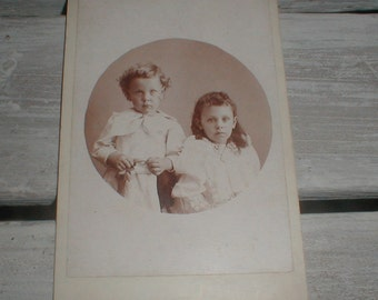 Antique Cabinet Card/Photo Victorian Children *Brother & Sister* Sweet Pose