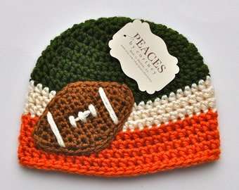 Newborn Football Hat - Green, White, and Orange Baby Football Hat