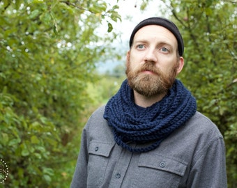 THE SKIPJACK COWL | 21 Color Choices | Mens Scarf Chunky Knit Infinity Rope Loop Cowl