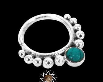 Dev Turquoise Silver Septum Ring - Tribal Septum Ring - 16G Septum Ring - Septum Jewelry - Indian Septum Ring - Septum Piercing (S20)