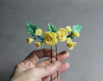 Hair pin, Floral hair pin, hairpin, Cold porcelaine flowers, exclusive head pieces, Wedding accessories, Bridal hair pin