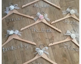 Wedding coat hanger - personalised colours & name