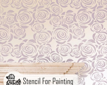 ROSES FLOWER STENCIL - Romantic Bedroom Nursery Girls Room Furniture Craft Wall Stencil for Painting - ROSE01