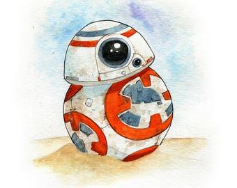 BB-8 Droid Force Awakens Inspired Watercolor Print