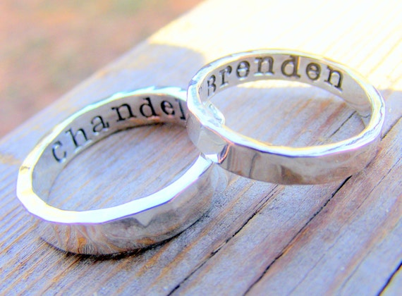 Wedding Ring Band Set Palladium Sterling Silver Mens Women Couples Ring Set, Personalized, Engraved, Engagement Ring, Custom Hand Stamped