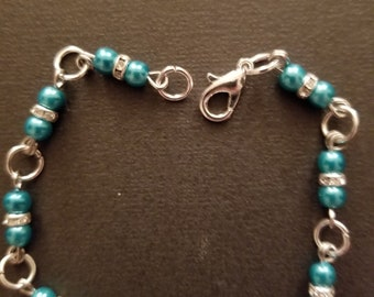 Teal and tiny jeweled silver beaded bracelet