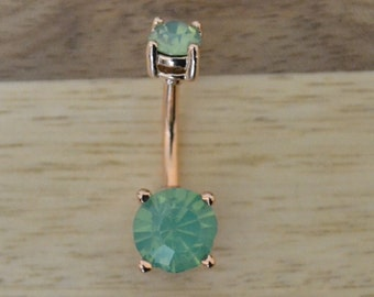 Mint Green Round Shape Double Prong Set Gem Rose Gold Plated Belly Button Ring Navel Body Piercing Jewelry
