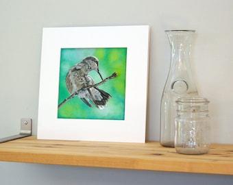 12x12 Hummingbird Art with White Mat - Ready to Frame Bird Print from Original Acrylic Painting