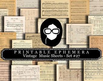 Ephemera Paper Pack - Vintage Sheet Music Set #27 - 25 Pg Instant Download - blank journal cards, digital journal kits, junk journal pages