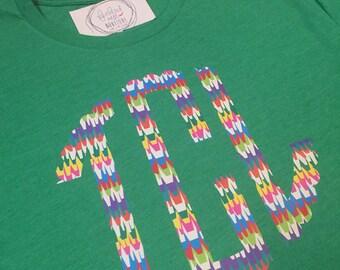 Pinata Pattern Monogram Short Sleeve Shirt - Monogrammed Tee - Crepe Paper Print Monogrammed T-shirt - Fiesta Monogram Shirt - Cinco de Mayo