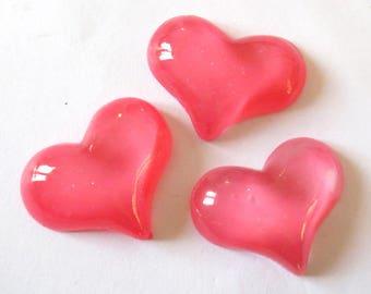1 x cabochon embellishment resin heart 30mm FUCHSIA Jelly