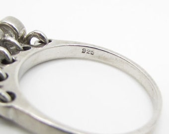 925 sterling silver - white cubic zirconia dangle charms band ring sz 8 - r1110
