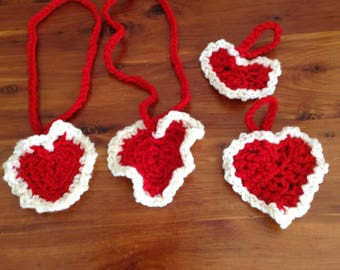 HAPPY VALENTINES DAY  Set of 4 Croched Hearts on chains Jewelry Pendants