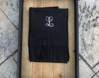 BLACK PASHMINA SCARF - Personalized Gift - Monogram Pashmina - Monogram Scarf - Teacher Gift - Blanket Scarves - Personalized Shawl Wrap