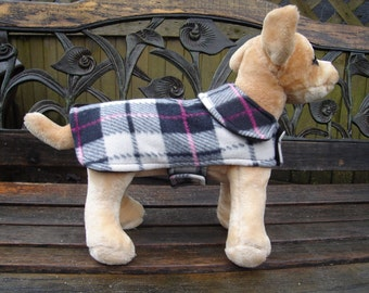 Black White and Pink Plaid Fleece Dog Coat with Snaps- Size XX Small- 8-10 Inch Length