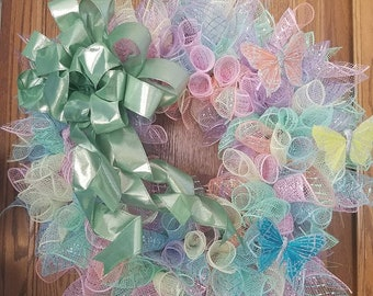 Pastel Wreath with Butterflies and Green metallic Ribbon