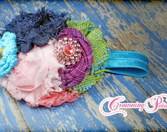 M2M Matilda Jane, Headband, Paint by Numbers, Navy Blue, Lime, Aqua, Light Pink, Fabric Flower Hair Bow, Hair Accessories, Clip, Hair Piece