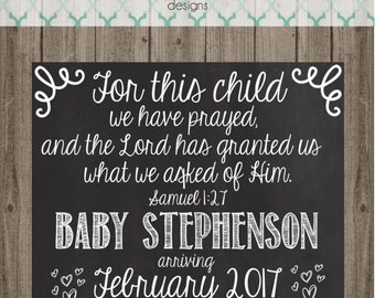 Pregnancy Announcement Chalkboard Sign - For This Child We Have Prayed - Pregnancy Announcement Chalkboard Sign