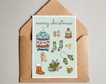 3 x Kerstkaart Weihnachtskarte Merry Christmas Postkaart kaart ansichtkaart