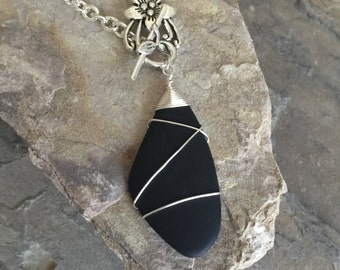 Sea Glass Necklace,Black,Wire wrapped,Necklace,Ocean,Beach,Recycled Glass,Silver plated wire,Silver plated Chain,Flower Toggle,Toggle Clasp,