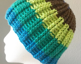Double Ribbed Beanie Pattern. Crochet. Reversible. Use 1 Caron Cakes for 2 hats. Fake knit style. 18-24 inches. One size fits most.
