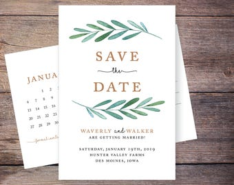 Botanical Save the Date, Garden Wedding, Greenery, Postcard, Foliage, Save-the-Date Card, DIY, Printable Digital File – Waverly