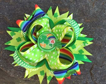 St. Patrick's Day Lollipop Initial Boutique Hairbow