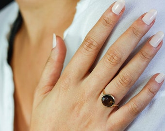 Smoky Quartz Ring, Smoky Quartz Gold Ring, 14K Solid Gold Ring, Brown Stone Ring, Brown Gemstone Ring, Solitaire Ring, Stacking Ring, GR0230
